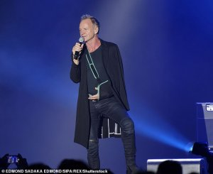 https://www.dailymail.co.uk/tvshowbiz/article-7595607/Sting-68-sports-sling-having-accident-shoulder.html He said: 'Good evening. Let me explain this. I had an accident with my shoulder. Unfortunately I cannot play my guitar this evening, but I can sing. The show must go on'