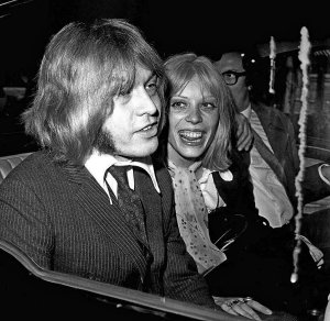 Brian Jones lunches in London during his trial for possession of cannabis, 26th September 1968. With him are his girlfriend Suki Potier and tour manager Tom Keylock .