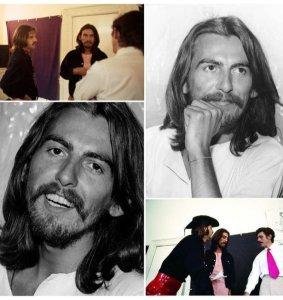 * Ringo Starr, George Harrison and Derek Taylor, Apple HQ, London, July 1969.