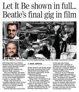 Концерт в фильме будет показан полностью, все 45 минут, — говорит Ринго. — Всего же мы с Питером Джексоном нашли 56 часов неизданных видеоматериалов.