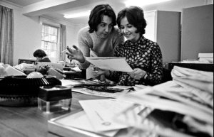 * Paul McCartney in the Press Office at Apple Corps (1969).