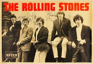 The Rolling Stones large signed poster from Decca Records, 1964.