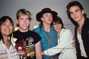 Stevie with Lenny and May Pang, record producer Steve Lillywhite and actor Matt Dillon backstage at First City in New York City on June 7, 1983.