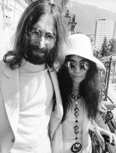 John Lennon with Yoko Ono attended the performance of their film The Rape at the Golden Rose of Montreux television contest in Montreux 1969