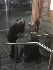 Joe Biden took his granddaughter to the movies in Georgetown last night.....on his way out he stopped to speak w/ a homeless man. A bystander took this candid shot. Character is about what you do when no one is watching.