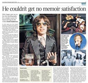 Мик отверг аванс в миллион фунтов за автобиографию потому, что не хочет ещё раз переживать свою жизнь.