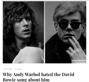 Удивительно, но Дэвид Боуи и Энди Уорхол встречались лишь однажды.