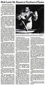 Rick Laird R.I.P.  Умер 4-го, а некролог в The New York Times только сегодня.