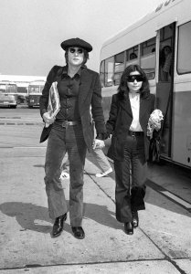 John and Yoko at Heathrow Airport in 1971 after a flight from New York
