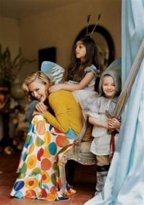 This photo supplied by Vogue, shows Madonna playing dressup with her children Lourdes, 7, and Rocco, 4 at the English country estate she shares with her husband, Guy Ritchie, and their two children. She's wearing Marni's yellow cashmere cardigan and John Galliano's multi-colored polka dot silk dress.