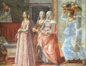 Кстати, сходил по ссылке, что на репродукции, и появился фрагмент картины Доменико Гирландайо Рождение св. Иоанна Баптиста.