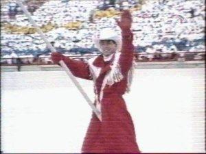 Церемония открытия Калгари-88. Знаменосец Канадской команды Брайен Орсер