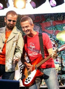 Ringo Starr performs with Billy Squier