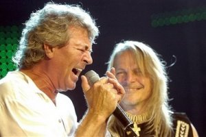 Ian Gillan, left, and Steve Morse, right, of the legendary British hard rock group 'Deep Purple' perform on the last day of the 40th Montreux Jazz Festival in Montreux, Switzerland, Saturday, July 15, 2006.