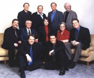 This undated photo released courtesy of the Osmond family shows the Osmond family, from top row left: Wayne, Tom, Virl, Merrill, center row from left: Jay, George, Marie, Olive, Alan and foreground Jimmy and Donny. George Osmond, patriarch of Osmond family singers, died Tuesday morning, Nov. 6, 2007, at his home in Utah. He was 90.