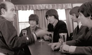 <-- Richard Lester (left) shooting 'Help!' with The Beatles in 1965