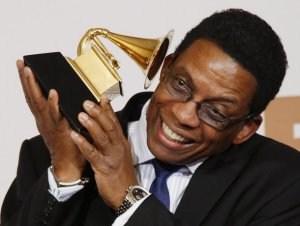 Musician Herbie Hancock poses with his award for Best Contemporary Jazz Album for River: The Joni Letters at the 50th Annual Grammy Awards in Los Angeles February 10, 2008.