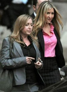 Heather leaves court for the day with her sister Fiona