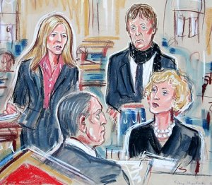 The artist's impression shows Heather and Paul in court today