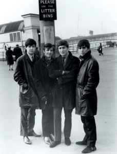 Paul McCartney, Ringo Starr, John Lennon and George Harrison at the Pier Head in Liverpool, England on February 19, 1963