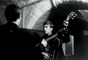 John and Paul during rehearsal for their show at the Cavern on Mathew Street in Liverpool, England on February 19, 1963.