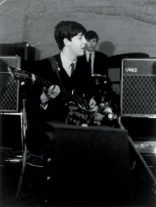 Paul rehearsing at the Cavern on February 19, 1963 in Liverpool, England.