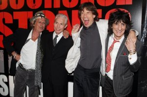 Keith Richards, Charlie Watts, Mick Jagger and Ronnie Wood of the Rolling Stones arrive at the premiere of 'Shine A Light' at the Ziegfeld Theater March 30, 2008 in New York City.