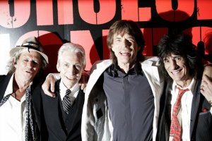Keith Richards, Charlie Watts, Mick Jagger and Ronnie Wood of the Rolling Stones pose for photographers at the premiere of the new Martin Scorsese movie about the Rolling Stones called Shine A Light in New York on March 30, 2008.