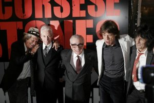 Keith Richards, Charlie Watts, Martin Scorsese, Mick Jagger and Ronnie Wood pose for photographers at the premiere of the new Scorsese movie about the Rolling Stones called Shine A Light in New York on March 30, 2008.