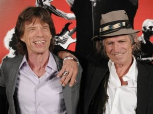 Mick Jagger, left, and Keith Richards participate in a press call to promote the release of their new film Shine A Light at the NY Palace Hotel, Sunday, March 30, 2008 in New York.