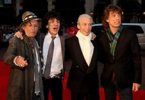 Rolling Stones (L-R) Keith Richards, Ronnie Wood, Charlie Watts and Mick Jagger arrive at the UK premiere of 'Shine a Light' at the Odeon Leicester Square on April 2, 2008 in London, England