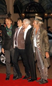 British rock band the Rolling Stones (L to R) Mick Jagger, Ronnie Wood, Charlie Watts, and Keith Richards arrive at London's Odeon cinema in Leicester Square for the UK premiere of the film 'Shine a Light' on April 2, 2008.'Shine a Light,' directed by Martin Scorsese, is about a Rolling Stones concert.