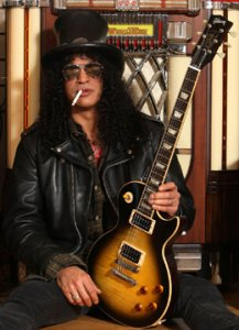 Slash visits the Gibson Guitar Showroom in London to launch limited edition of signature Slash Gibson and Epiphone Les Paul Standard Guitars. Photo by The Press Association.