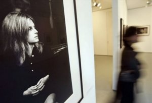A portrait of late photographer Linda McCartney, taken by her husband Paul McCartney, is included in an exhibition of her photographs from the 1960s to the late 1990s, at a central London gallery, Tuesday April 22, 2008. The collection of photographs, chosen by Paul McCartney, to mark the 10th anniversary of her death, includes images of Jim Morrison, Janis Joplin, John Lennon, Mick Jagger but also rarely seen works and charts her career as a leading photographer.