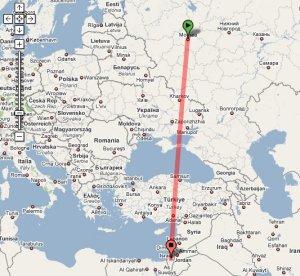 По прямой 2709.92 км.