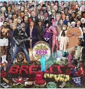 Обновлена версия обложки битловского альбома Sgt. Pepper's Lonely Hearts Club Band, посвященная потерям 2016 года. Об этом сообщает  Billboard .  На обновленной обложке появилось, в частности, фото музыканта Джорджа Майкла,  скончавшегося  25 декабря. Кроме того, добавлен снимок актрисы Кэрри Фишер, известной по роли принцессы Леи Органы в Звездных войнах. Артистка  умерла  27 декабря.