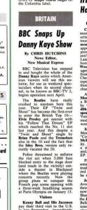 BBC Snaps Up Danny Kaye Show By CHRIS HUTCHINS News Editor, New Musical Express