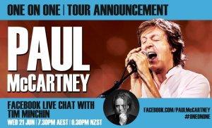 Сэр Пол МакКартни объявит о своём первом за 24 года австралийском турне через Facebook в 19:30 (Восточноавстралийское время, UTC+10:00/MSK+7) завтра, 21 июня 2017 г.