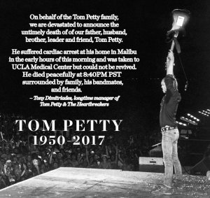 Представитель полиции Лос-Анджелеса сделал заявление прессе, что информация о смерти американского рок-музыканта Том Петти была поспешной и несогласованной.   Полиция Л.А. не располагает информацией о смерти певца Тома Петти. Изначальная информация была передана некоторым СМИ несогласованно. В данном случае, мы не располагаем всей информацией. Мы приносим извинения за возможные неточности в этом сообщении.   В настоящий момент ряд новостных ресурсов отредактировал тексты статей о кончине музыканта, добавив примечание, что данная информация остаётся неподтверждённой, и 66-летний рокер борется за жизнь. Новостной ресурс USA Today исправился в течение часа после публикации известия о смерти Тома Петти, сообщив, что его состояние здоровья неизвестно; информация о гибели опровергнута.  Тем временем, дочь Тома Петти Вайолет опубликовала в Инстаграме гневное обращение в адрес журнала Rolling Stone, похоронившего музыканта:   Умер не мой отец, а ваш чёртов журнал. Вы всегда были таблоидным собачьим дерьмом. Вы лепите на свои обложки худших артистов и ничерта не шарите. Да как вы смеете писать, что мой отец скончался - вы делаете это только ради роста продаж, потому что остальные ваши статьи и фотографии безнадёжно устарели. Я презираю вас. Вы можете хоть ненадолго отойти от трамповщины? Для меня он - отец, а не знаменитость. Артист и простой человек. Идите вы к чёрту.     ОБНОВЛЕНО     :