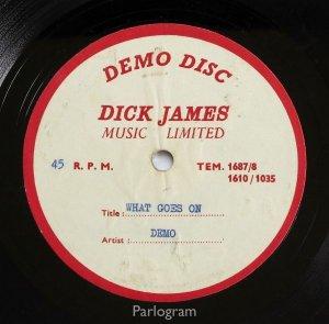 Неизданное демо What Goes On продано за £10,2 тыс., сообщает  AXS . Запись была сделана в 1963 году. Итоговый вариант впоследствии вошел в сингл Nowhere Man и альбом Rubber Soul.  Продажей раритета на сайте eBay занималась компания Parlogram. В ней заявили, что покупатель – частный коллекционер, базирующийся в Европе.  Торги продолжались 10 дней. Поступило 38 разных заявок. Финальная пришла в последние минуты аукциона.